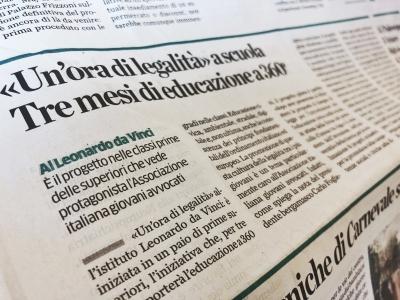"""Eco di Bergamo parla di noi: via al progetto """"Un'ora di legalità"""" in collaborazione con AIGA"""